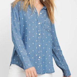 Rails polkadot blue denim button down top M